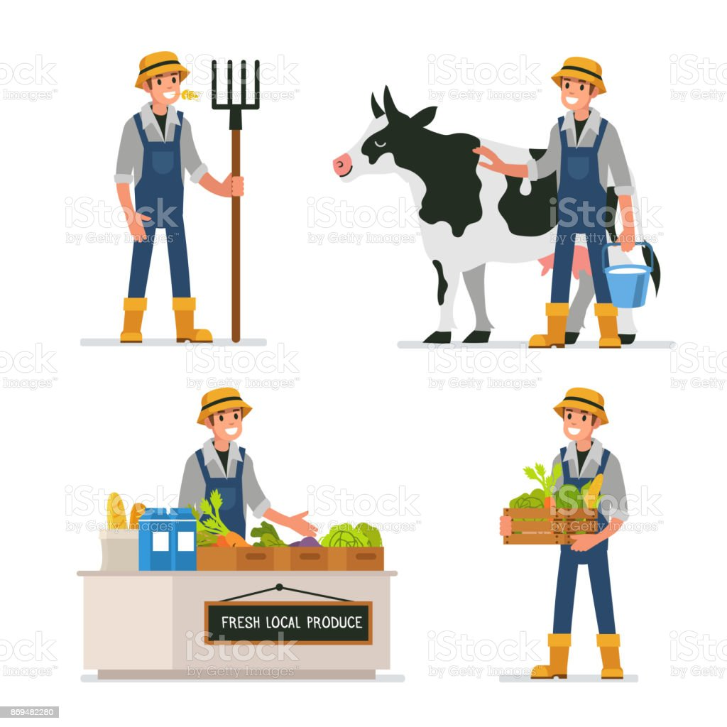 farmer vector art illustration
