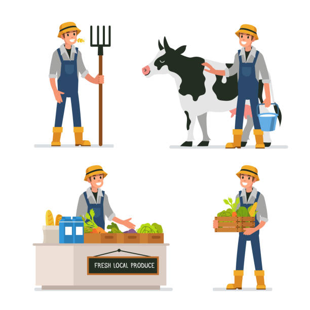 farmer Farmer working at farm and selling farm products. Flat style vector illustration isolated on white background. farmer stock illustrations