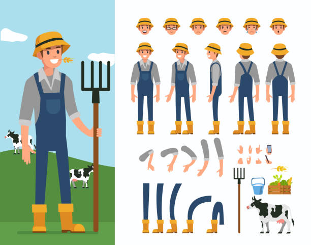 farmer Farmer man  character constructor and objects for animation scene.  Set of various men's poses, faces, hands, legs. Flat style vector illustration isolated on white background. farmer stock illustrations