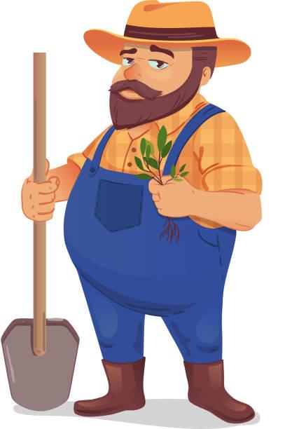 farmer vektor-illustration - gartendekorationen stock-grafiken, -clipart, -cartoons und -symbole