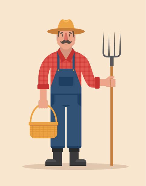 bauer-vektor-illustration. - farmer stock-grafiken, -clipart, -cartoons und -symbole
