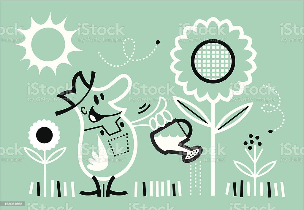 farmer watering his garden vector art illustration