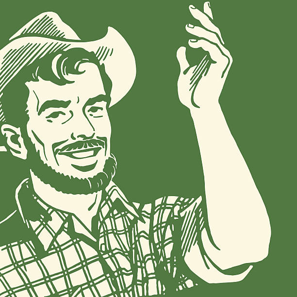 A farmer with a beard making hand gestures Gesturing Farmer with a Beard rancher illustrations stock illustrations