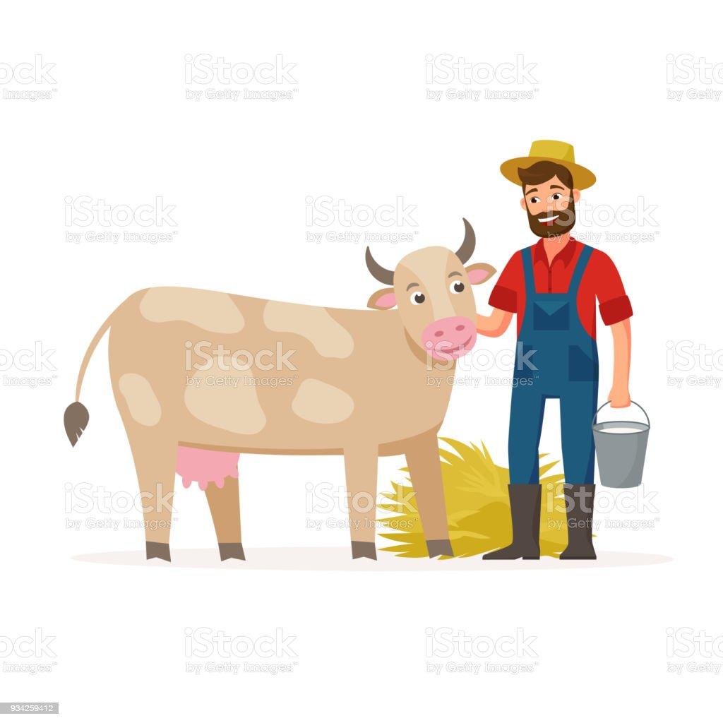農家では牛と乳と干し草のバケツフラットなデザインの概念ベクトル図の