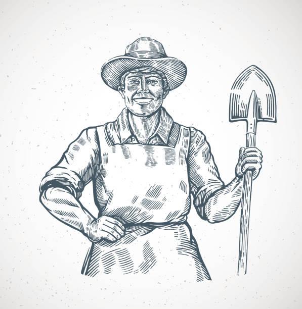 illustrazioni stock, clip art, cartoni animati e icone di tendenza di farmer with a shovel in his hands - farmer