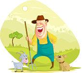 Farmer with hay fork
