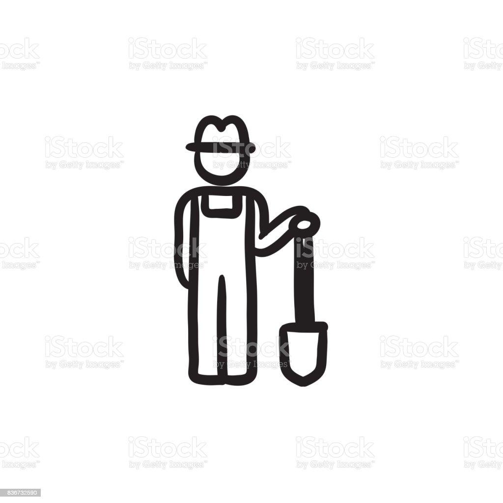 Ilustración De Granjero Con Pala Dibujo Icono Y Más Vectores Libres