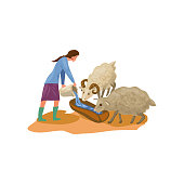 istock Farmer woman in rubber boots give water for sheeps 1208615894