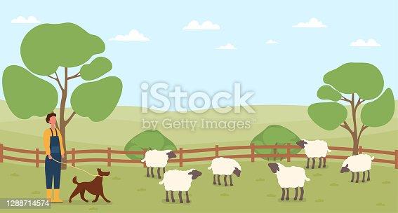istock Farmer working on countryside farm 1288714574