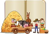 Farmers and animals in the book template