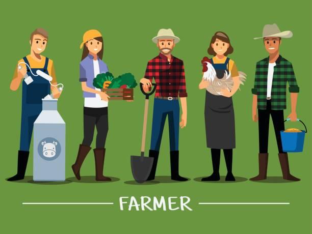 landwirte und vieh gesetzt, vektor-illustration-cartoon-figur. - bauernberuf stock-grafiken, -clipart, -cartoons und -symbole