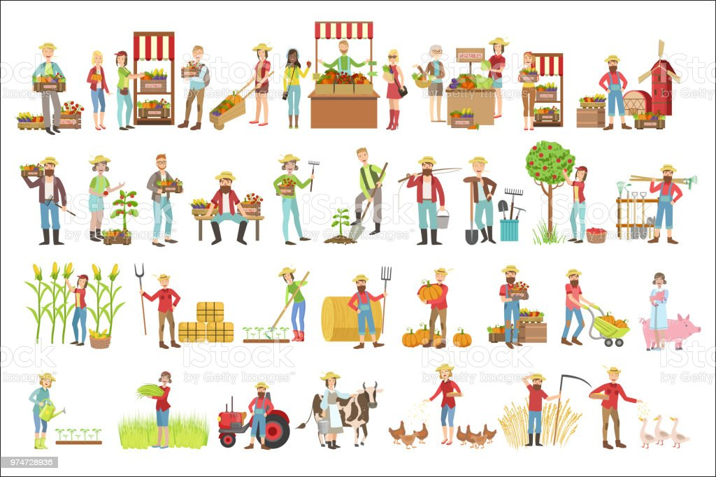 Farmers And Their Products Set vector art illustration