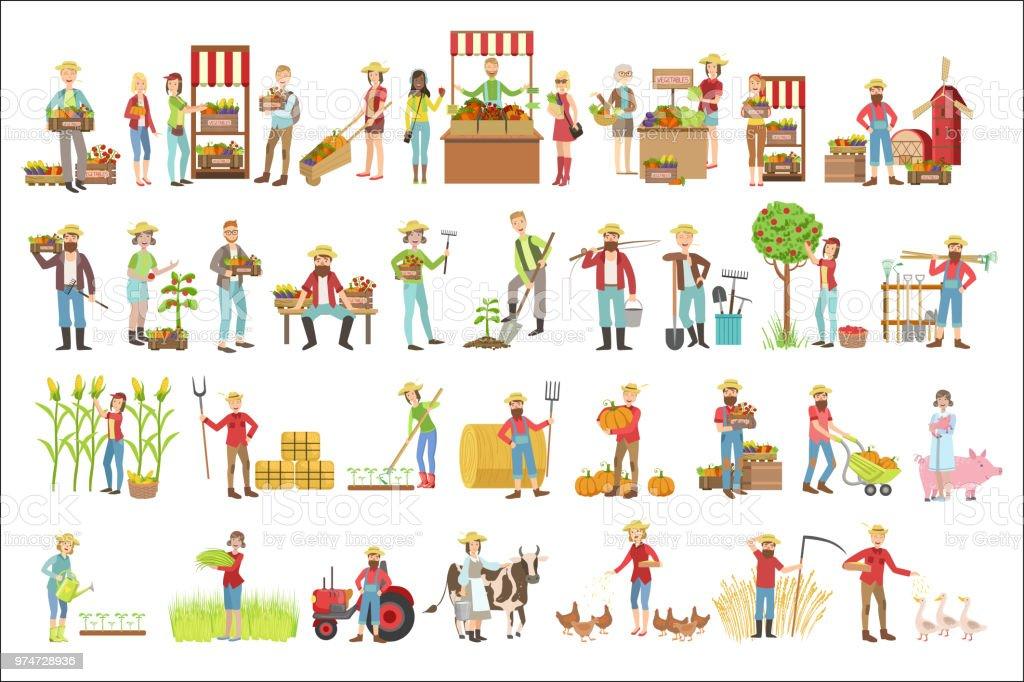 Landwirte und ihre Produkte – Vektorgrafik