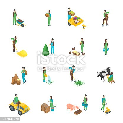 Farmers at Work 3d Icons Set Isometric View Include of Watering, Cultivation, Dig, Collect and Planting. Vector illustration