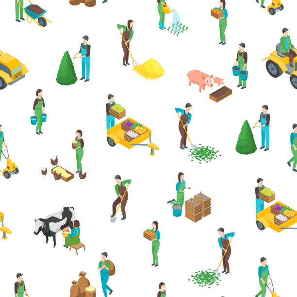 Farmers at Work 3d Seamless Pattern Background Isometric View. Vector Farmers at Work 3d Seamless Pattern Background on a White Isometric View Include of Watering, Cultivation, Dig, Collect and Planting. Vector illustration samenwerking stock illustrations
