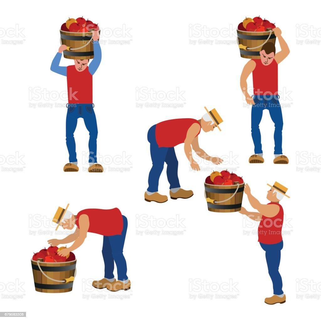 Farmers carrying buckets vector art illustration