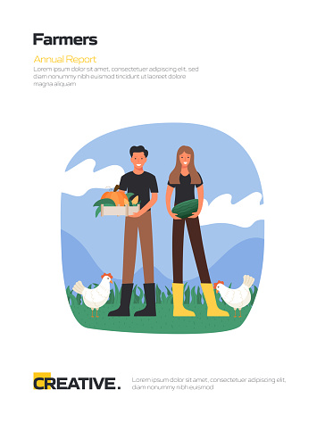Farmers Concept Flat Design for Posters, Covers and Banners. Modern Flat Design Vector Illustration.