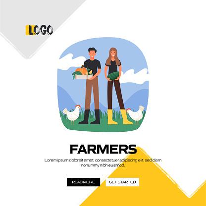 Farmers Concept Vector Illustration for Website Banner, Advertisement and Marketing Material, Online Advertising, Social Media Marketing etc.