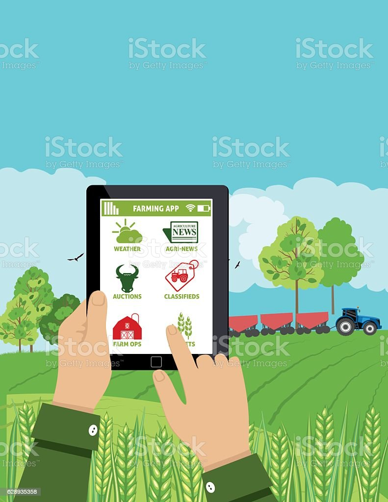 Farmers Holds a Tablet With an Agriculture Application On It - ilustración de arte vectorial