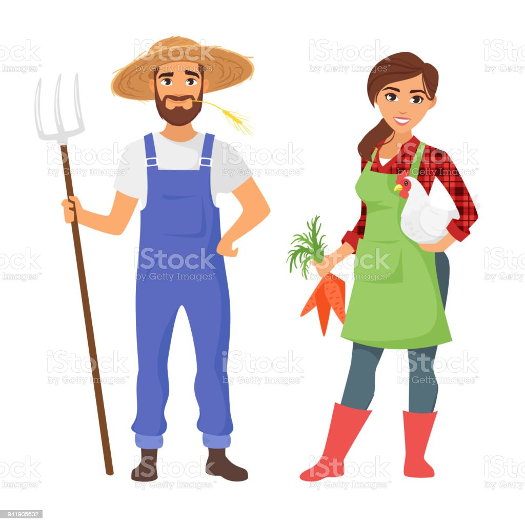 farmers: man and woman character vector art illustration