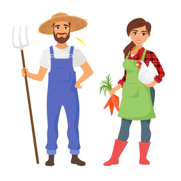 farmers: man and woman character Vector cartoon style illustration of farmers: man and woman character. Isolated on white background. Vibrant color. farmer stock illustrations