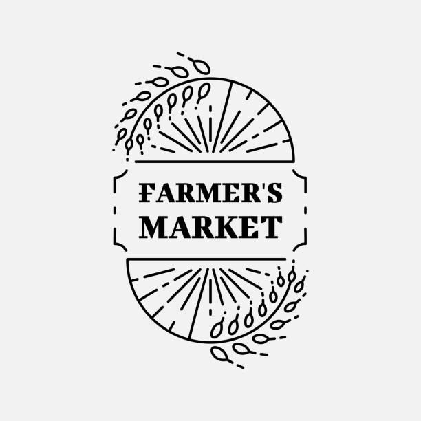 Farmer's Market and Wheat field, Agriculture and organic farm thin line icon. Isolated and easy to edit business identity element, Vector illustration Farmer's Market and Wheat field, Agriculture and organic farm thin line icon. Isolated and easy to edit business identity element, Vector flat illustration farmers market illustrations stock illustrations