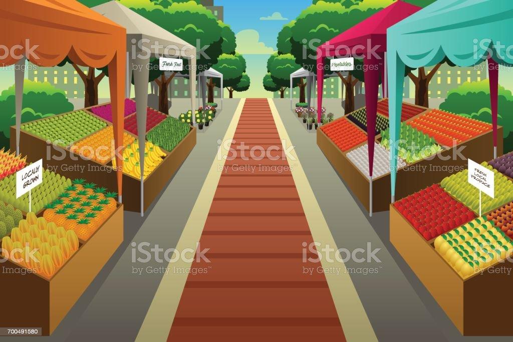 Farmers Market Background Illustration Stock Illustration