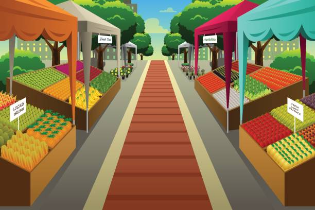 Farmers Market Background Illustration A vector illustration of Farmers Market Background farmer's market stock illustrations