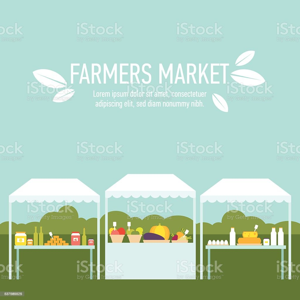 Farmers market background one vector art illustration