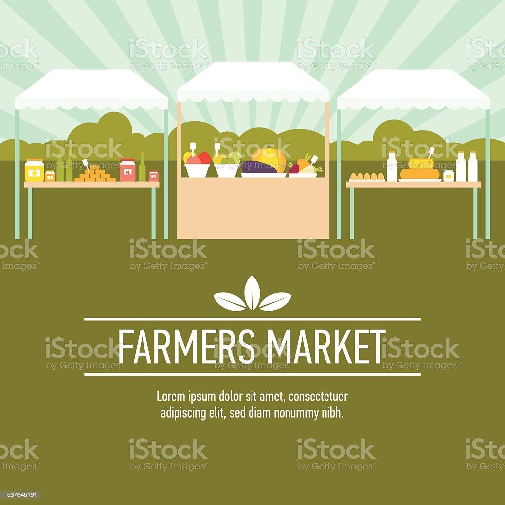 Farmers market background two vector art illustration