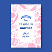 Farmers market banner, frame border with illustrations of vegetables, modern vector template for local food fair, vertical typography poster layout with logo, banner for agricultural fair