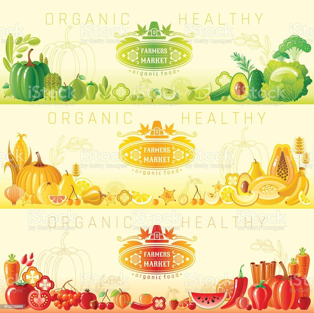 Farmers market banner set. Autumn vector illustration vector art illustration