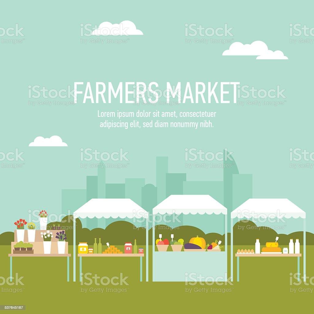 Farmers market city background vector art illustration