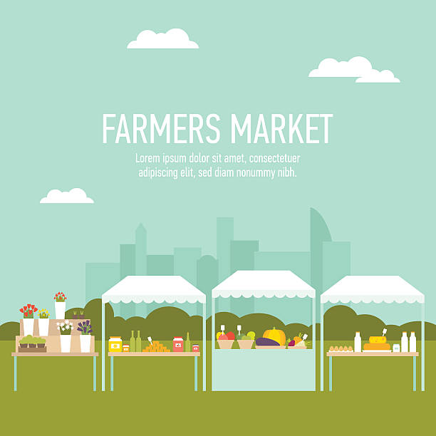 Farmers market city background Modern flat illustration of farmers market produce stands with cityscape on the background. Easy to edit, elements are grouped and in separate layers. farmers market illustrations stock illustrations