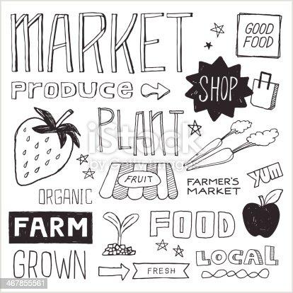 Farmer's Market Doodles — Vector Elements