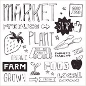 Farmer's Market and produce themed text and graphics in hand-drawn doodle style. Easy-to-edit vector elements.
