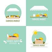 Farmers market emblem set