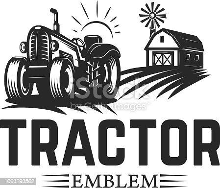 Farmers market. Emblem template with tractor. Design element for label, emblem, sign. Vector illustration