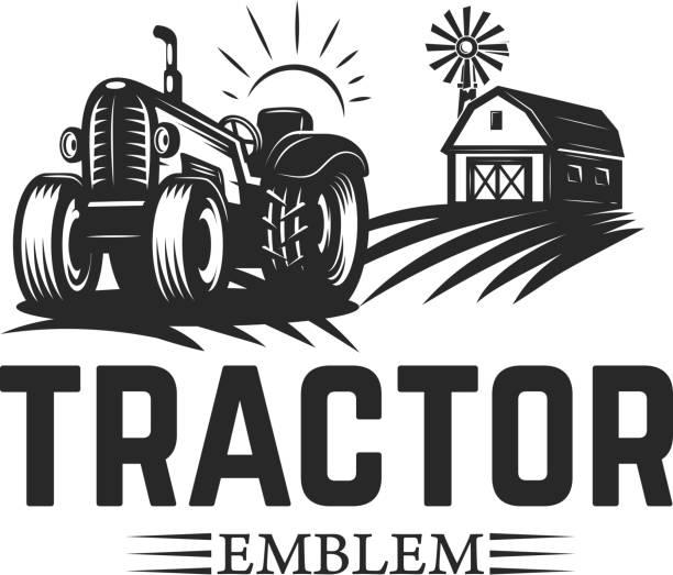 illustrazioni stock, clip art, cartoni animati e icone di tendenza di farmers market. emblem template with tractor. design element for label, emblem, sign. - trattore