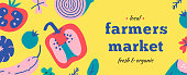 Farmers market flyer or web banner layout with hand drawn colorful vector illustrations with vegetables. Graphic design template for local organic food fair event. Bright color leaflet.