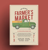 Farmers Market Flyer Poster Template with farmer's vintage pickup truck for your farmer's  market event. Vector Illustration.