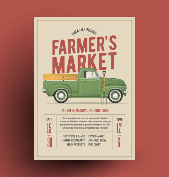 농민 농민 이벤트에 대 한 농부의 빈티지 픽업 트럭 시장 전단지 포스터 템플릿. 벡터 일러스트입니다. - 농산물 직판장 stock illustrations