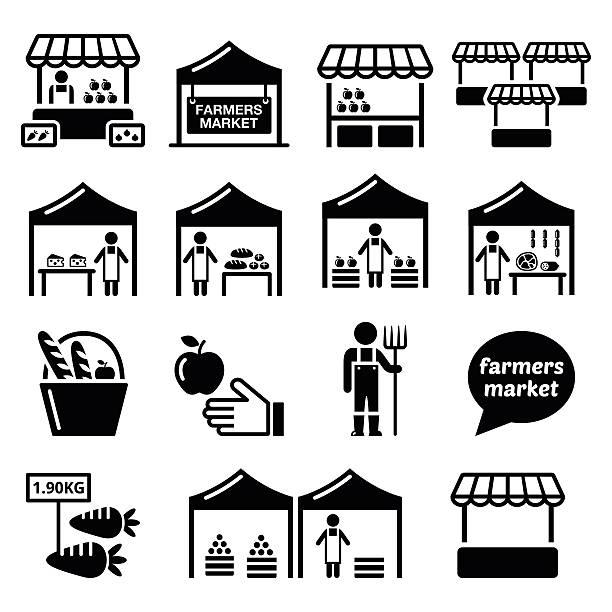 illustrazioni stock, clip art, cartoni animati e icone di tendenza di mercato degli agricoltori mercato alimentare con prodotti freschi locali icone impostare - bancarella