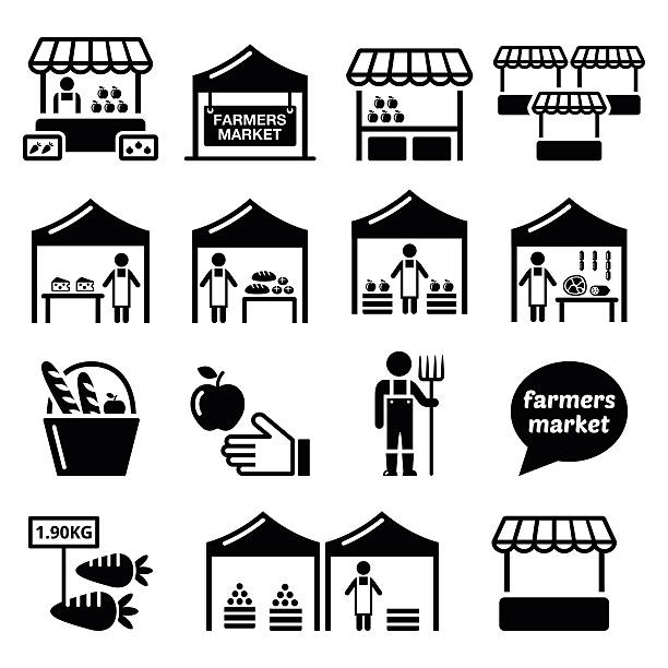 Farmers market, food market with fresh local produce icons set Vector icons set - market stalls selling fruit, vegetables, meat and dairy  farmer's market stock illustrations