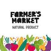 Farmers market - hand drawn lettering. Decorative vegetables doodle sketch. Unique typography design for advertising, poster, flyer, invitation, banner. Vector illustration