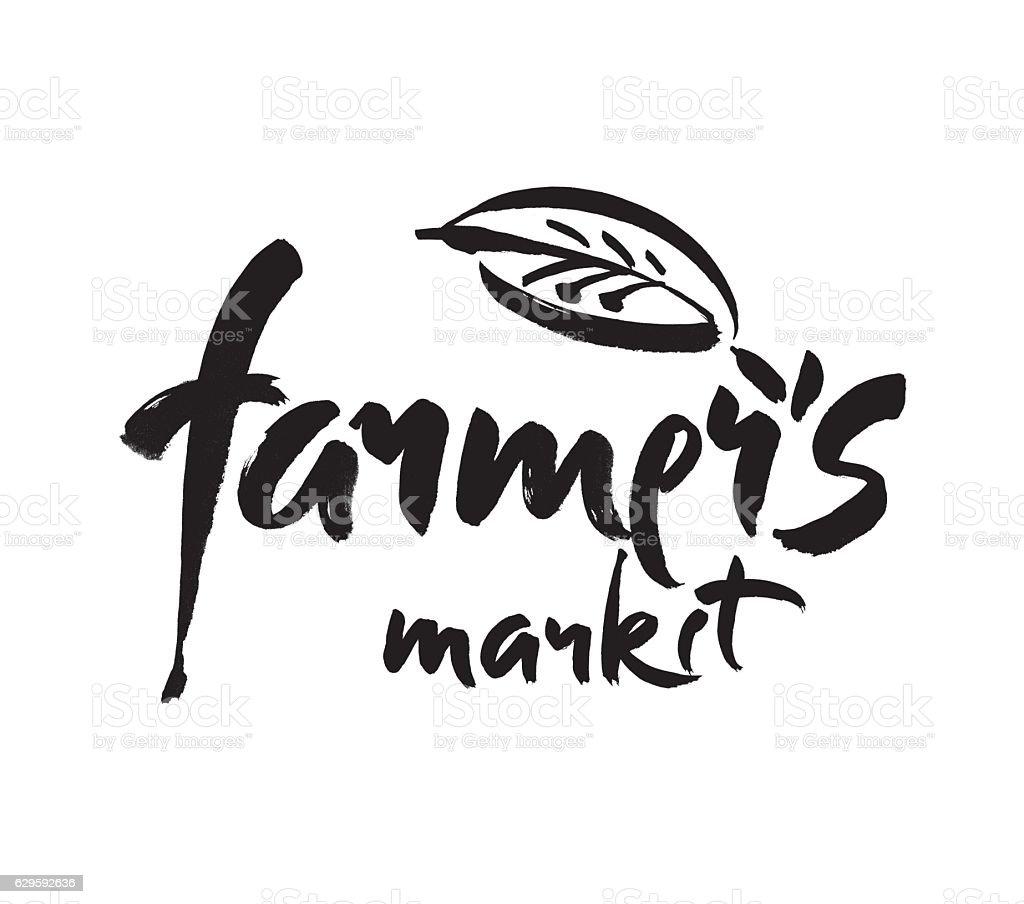 Farmers market hand lettering, retro vintage style. Modern brush calligraphy, vector art illustration