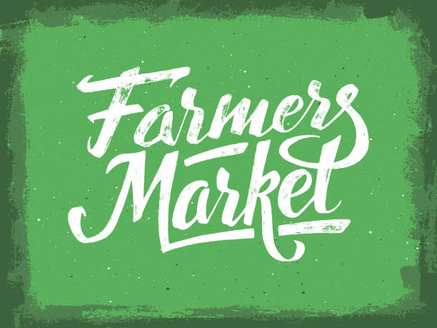 Farmers market hand lettering. Vintage poster Farmers market hand lettering on green aged background. Vegan food retail banner. Retro vintage advertising poster with unique typography. Vector illustration farmer's market stock illustrations