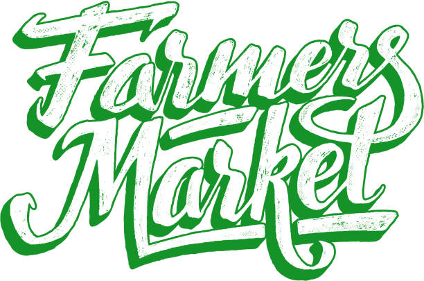 Farmers market hand lettering. Vintage poster Farmers market hand lettering on white background. Vegan food retail banner. Retro vintage advertising poster with unique typography. Vector illustration farmer's market stock illustrations