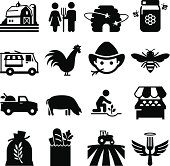 Farmer'€™s market and other agricultural icons. Professional vector icons for your print project or Web site. See more in this series.