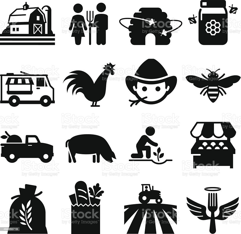 Farmer's Market Icons - Black Series vector art illustration